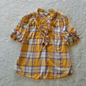 Anthropologie Odille Yellow Plaid Top Blouse sz 10